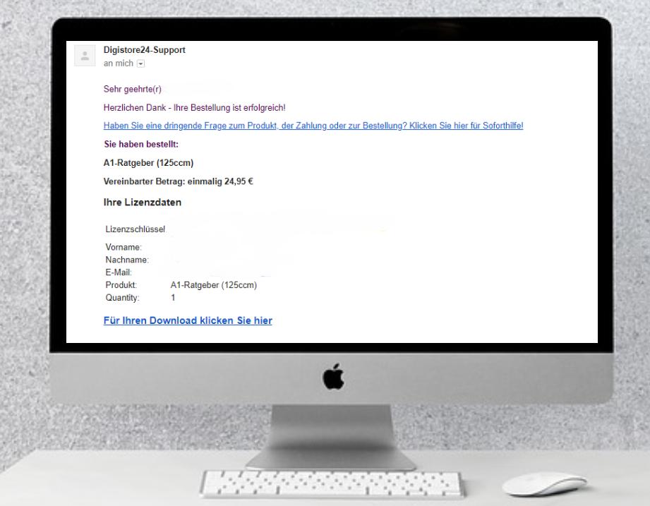 E-Mail mit den Zugangsdaten für das Produkt