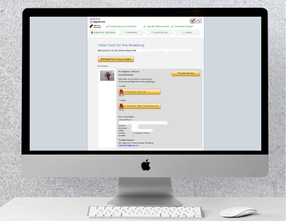 Digistore-Download Seite für den Zugriff auf den Motorradratgeber