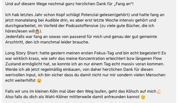 Feedback Fang an!