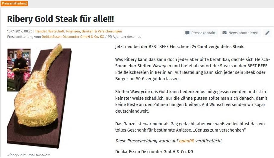 Ribery Gold Steak für alle
