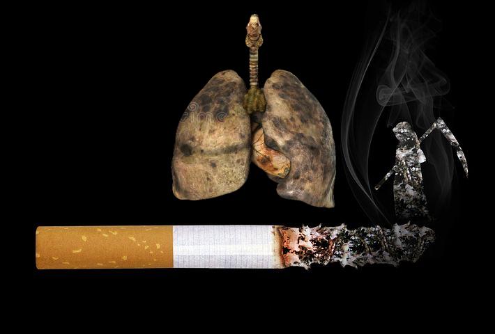 Auswirkung einer Zigarette auf die Lunge