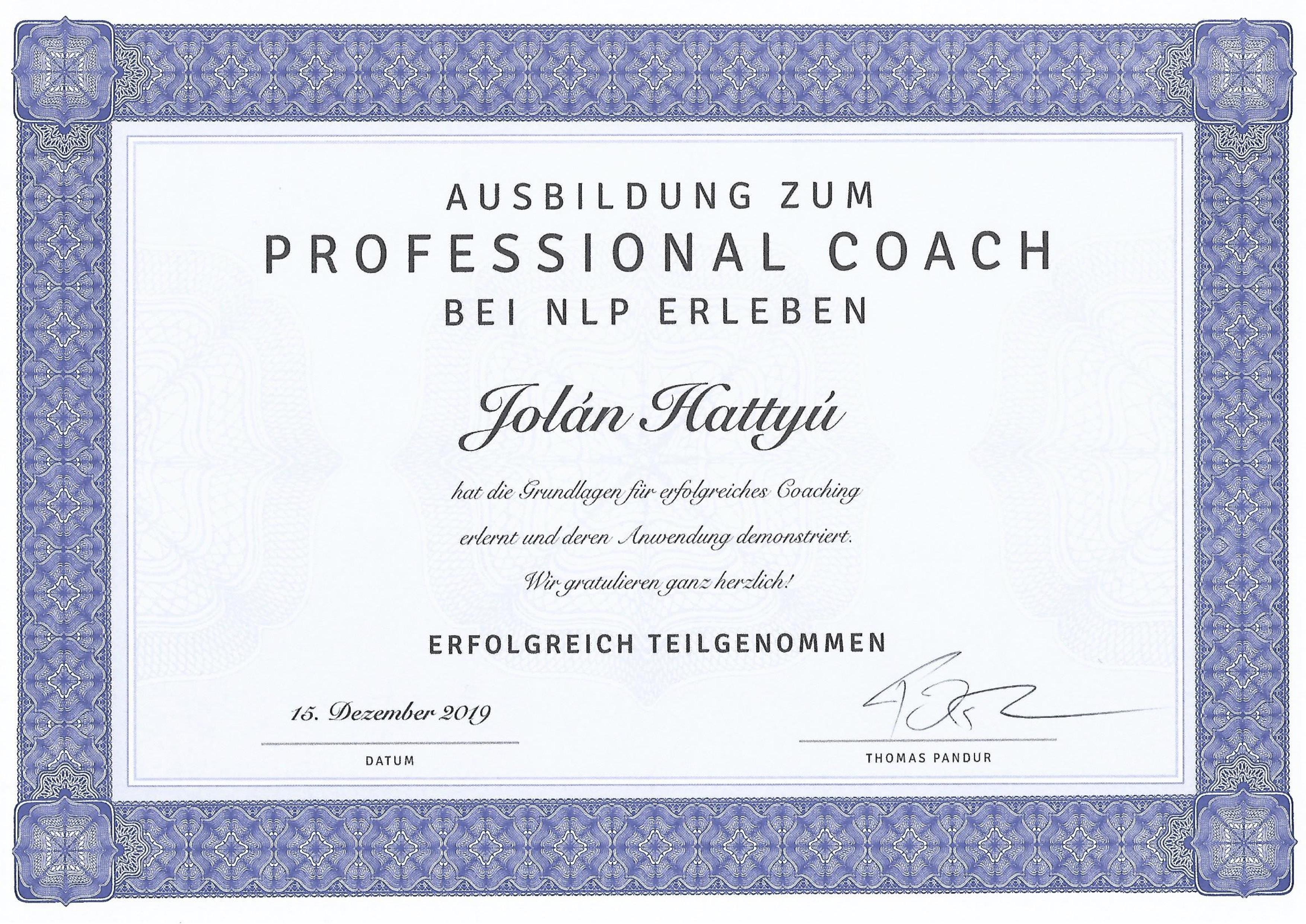 Jolán Hattyú Professional Coach Zertifikat