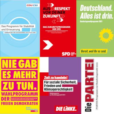 Titelseiten der Wahlprogramme