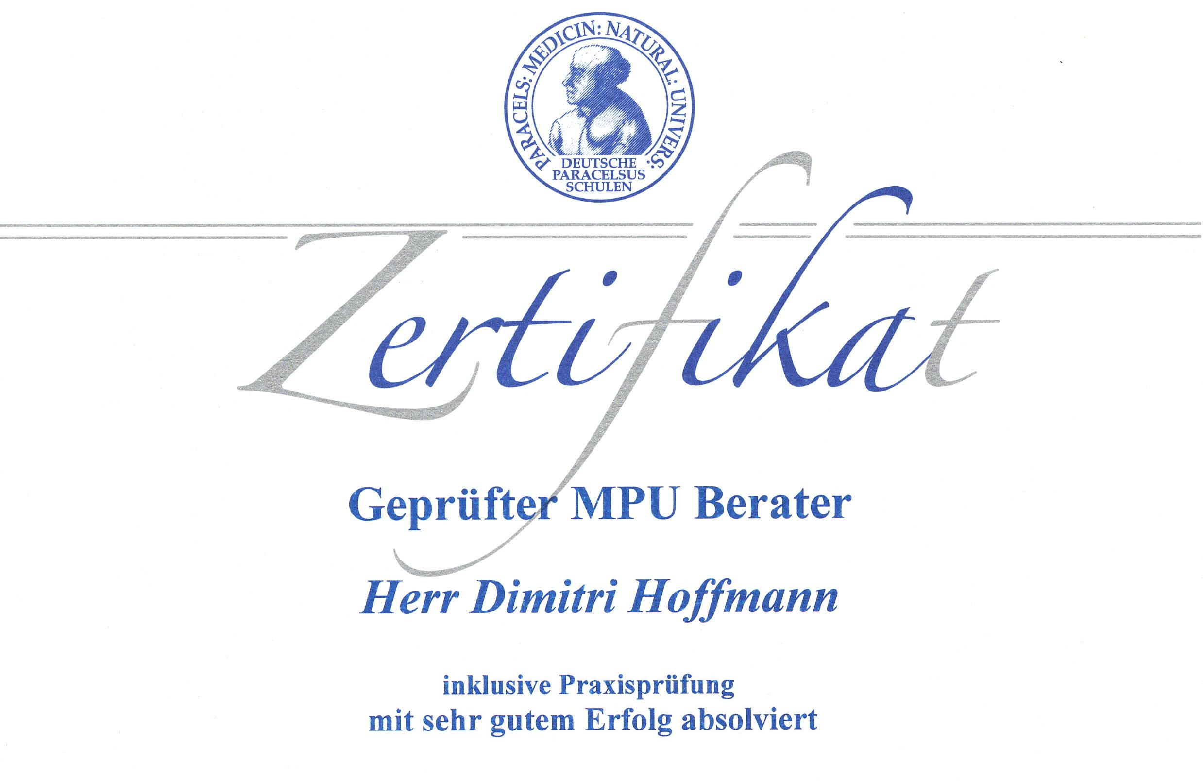 MPU Zertifikat