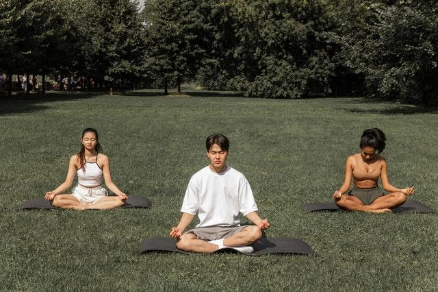 Gruppe Leute sitzen auf dem Grünen und meditieren