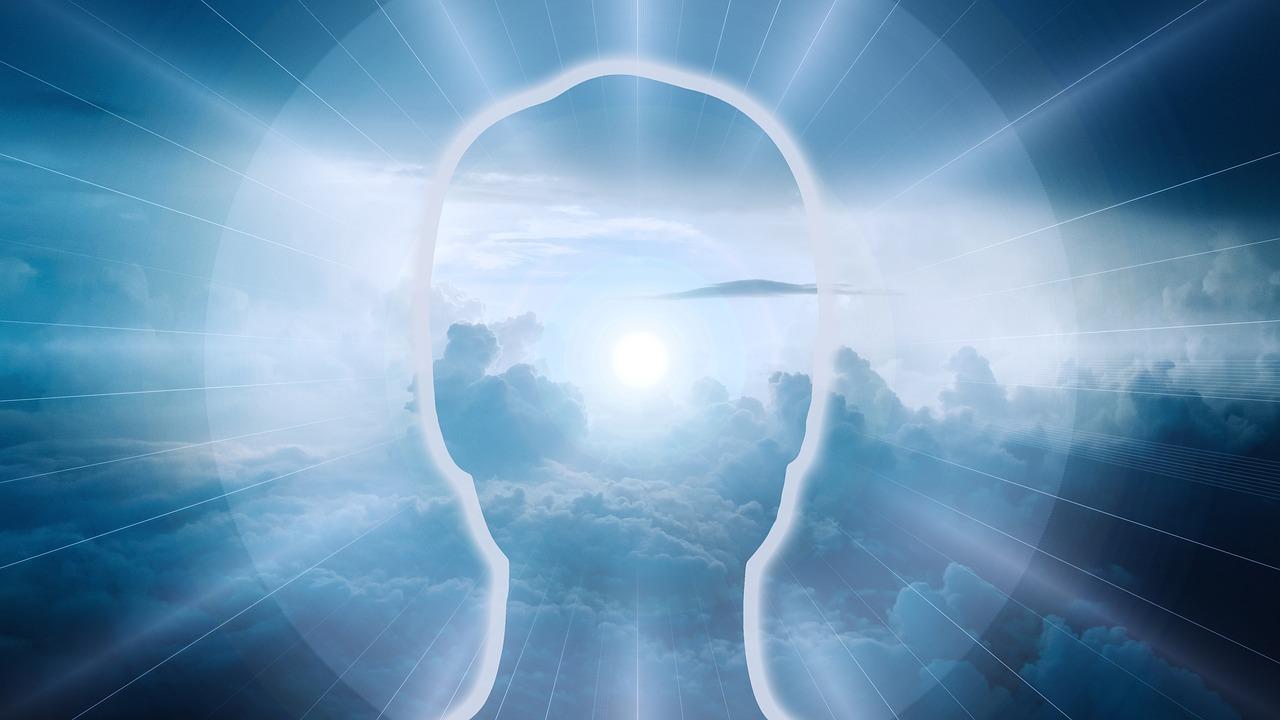 Kopf mit Lichtkugel