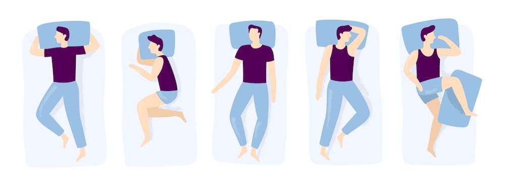 veranschaulichung mann schlafposition nacht schlafen position