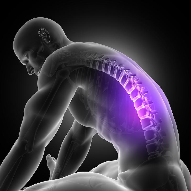 3D Anschauung Mann leht sich nach vorne Wirbelsäule veranschaulicht Protrusion