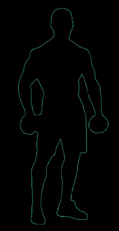 Grafik, Mann mit Hanteln