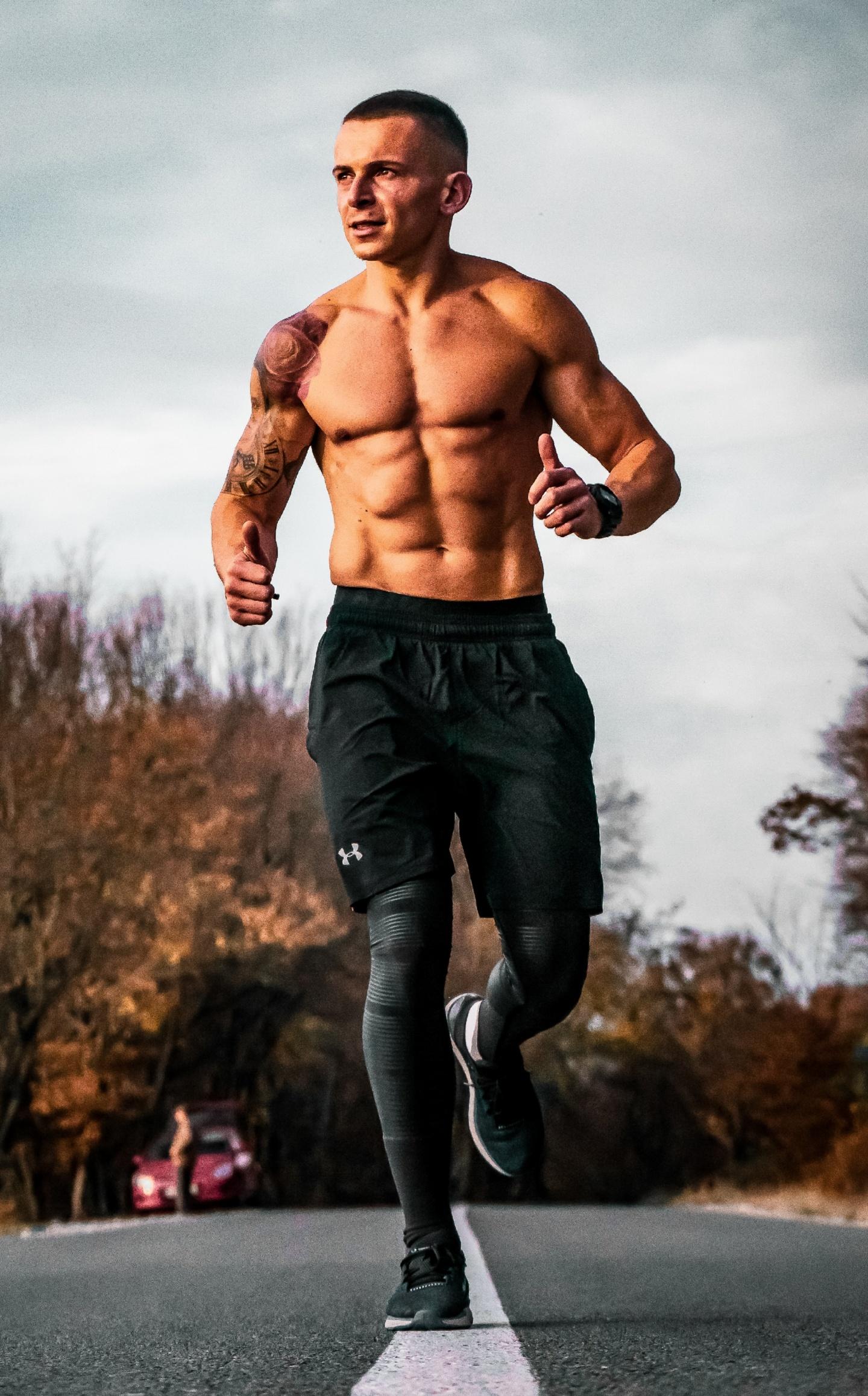 Mann, Joggen, Sixpack, Bauchmuskeln, Training