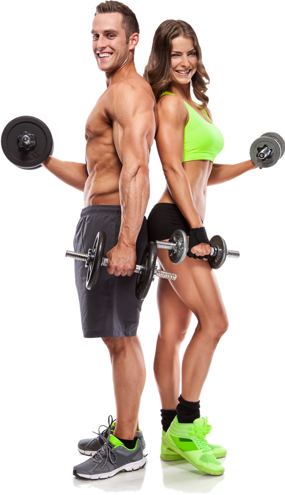 Mann und Frau, Muskulös, Fitnesstraining, Hanteln