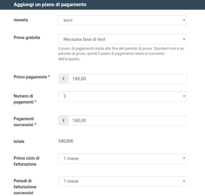 Aggiungi un piano di pagamento digistore24