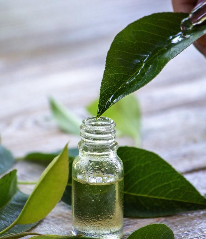Naturheilmittel Teebaumöl Tropfen gegen Pickel als kleines Fläschchenen