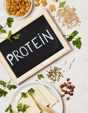 Draufsicht auf gerahmter Tafel mit Protein Aufschrift auf Tisch mit eiweißhaltigen Lebensmitteln