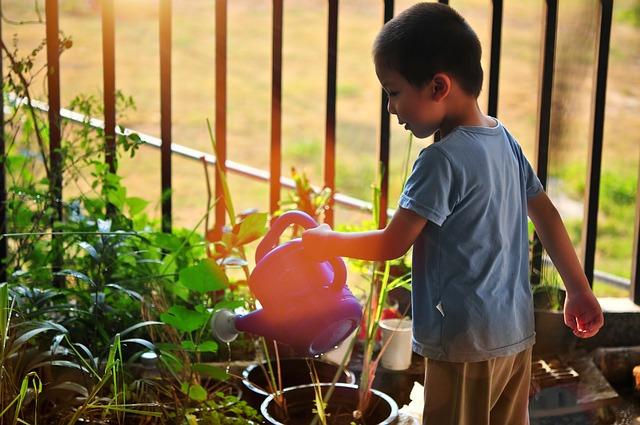 Kind beim Blumen gießen