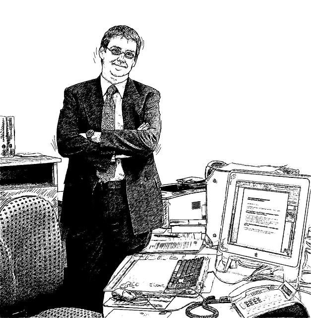 """Bleistiftzeichnung """"Mann im Büro"""""""