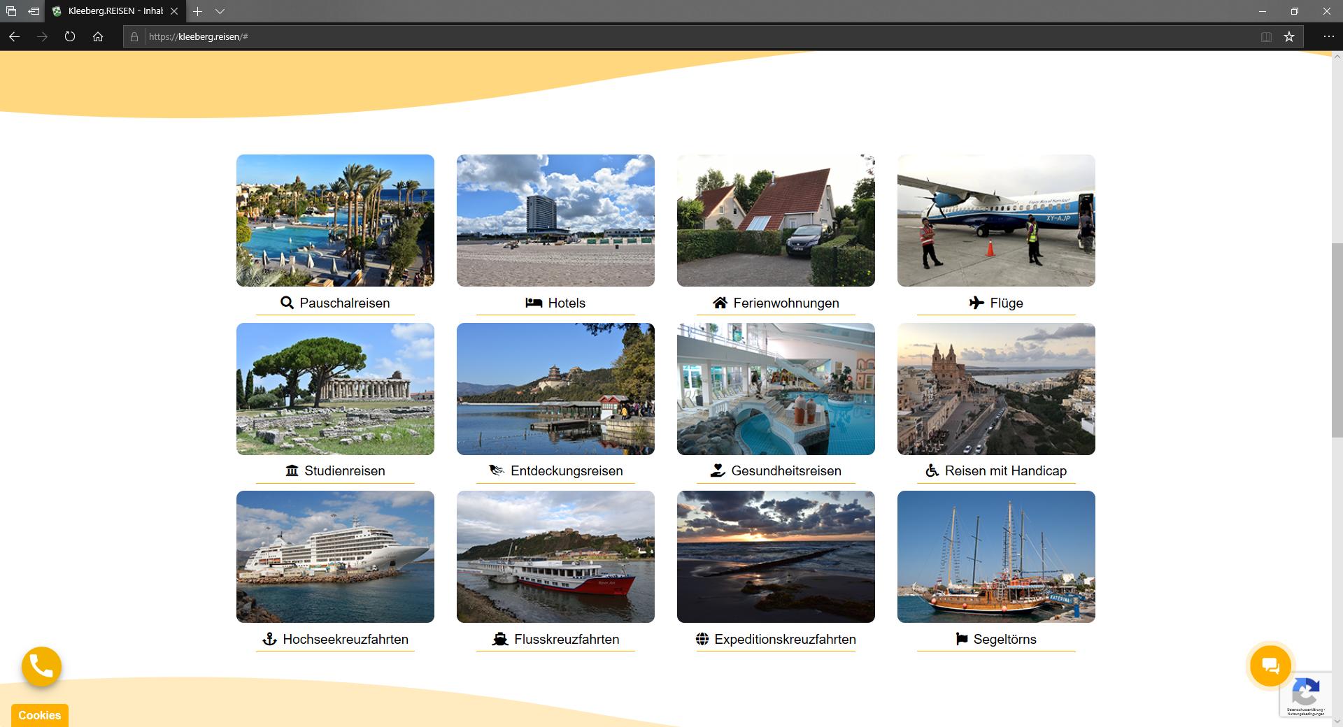 Screenshot der Reiseartenübersicht auf Kleeberg.REISEN