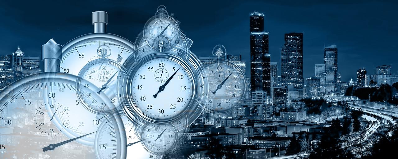 Zeitmanagement Stoppuhren und perfekte Gebäude