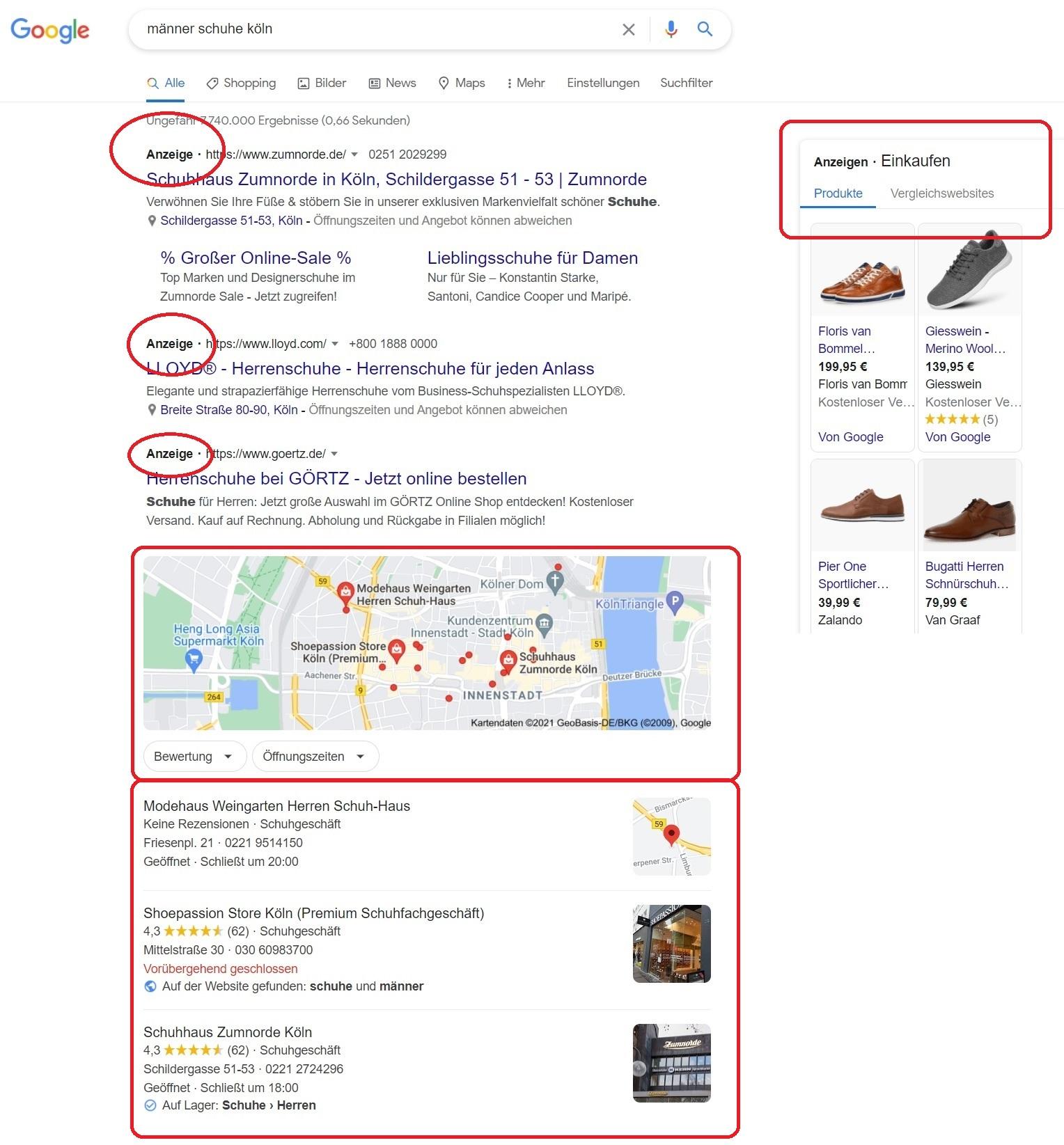 SEA-Anzeigen von Google