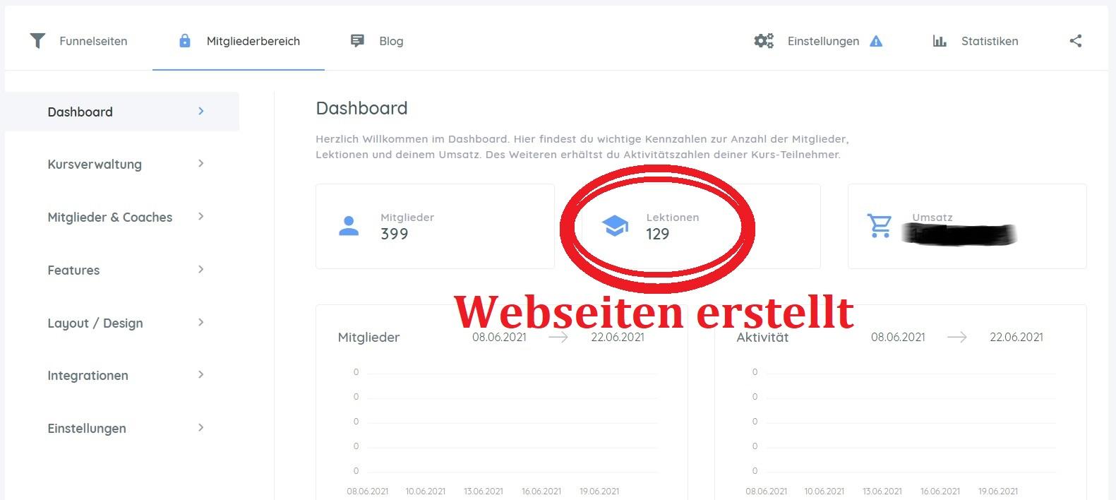Screenshot Mitgliederseite Funnelcockpit Online Coaching