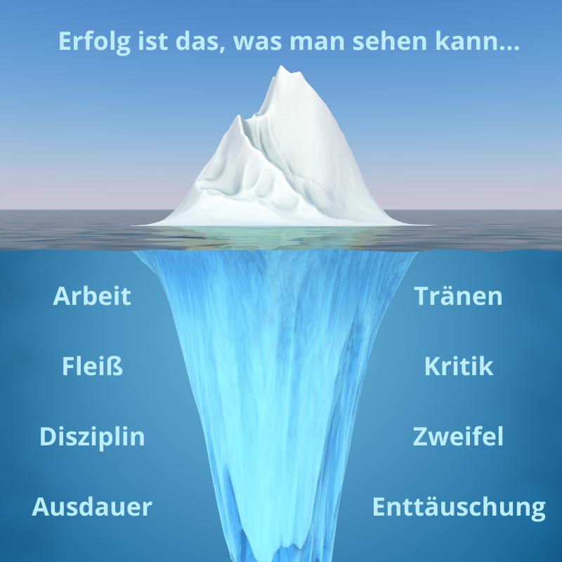 Erfolg ist wie ein Eisberg, man sieht nur das, was über der Oberfläche ist