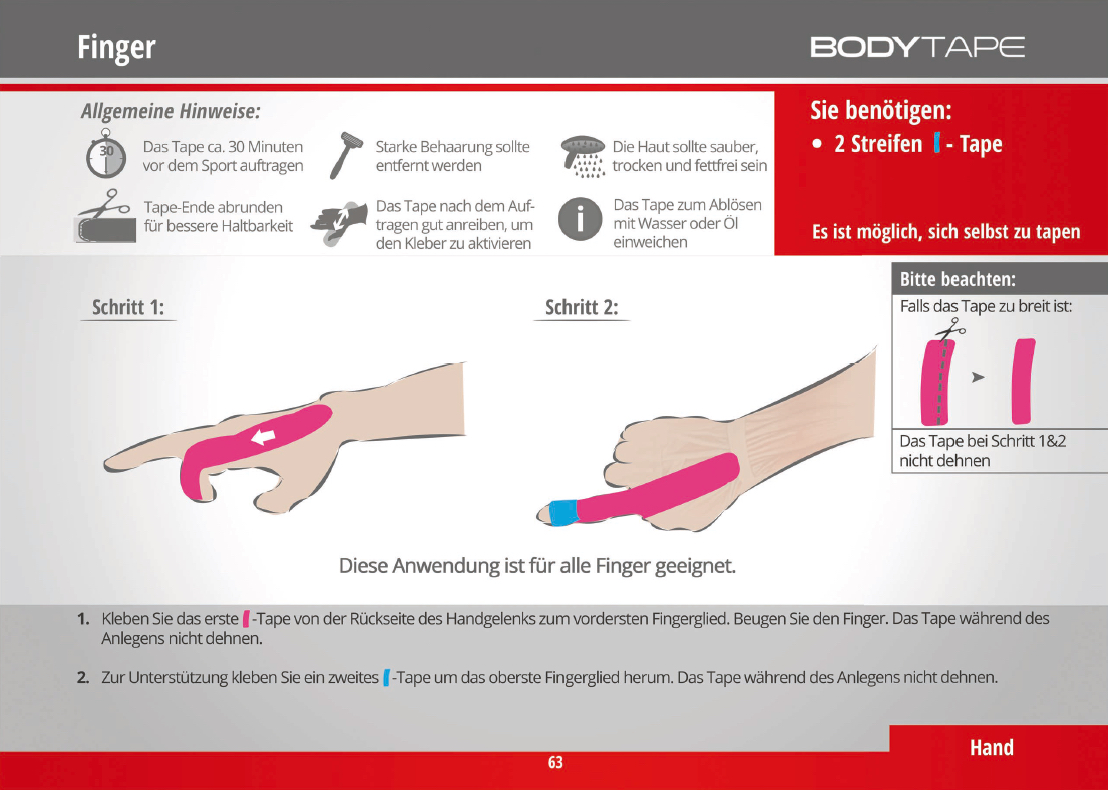 Finger tapen Kinesiology Tape Anleitung
