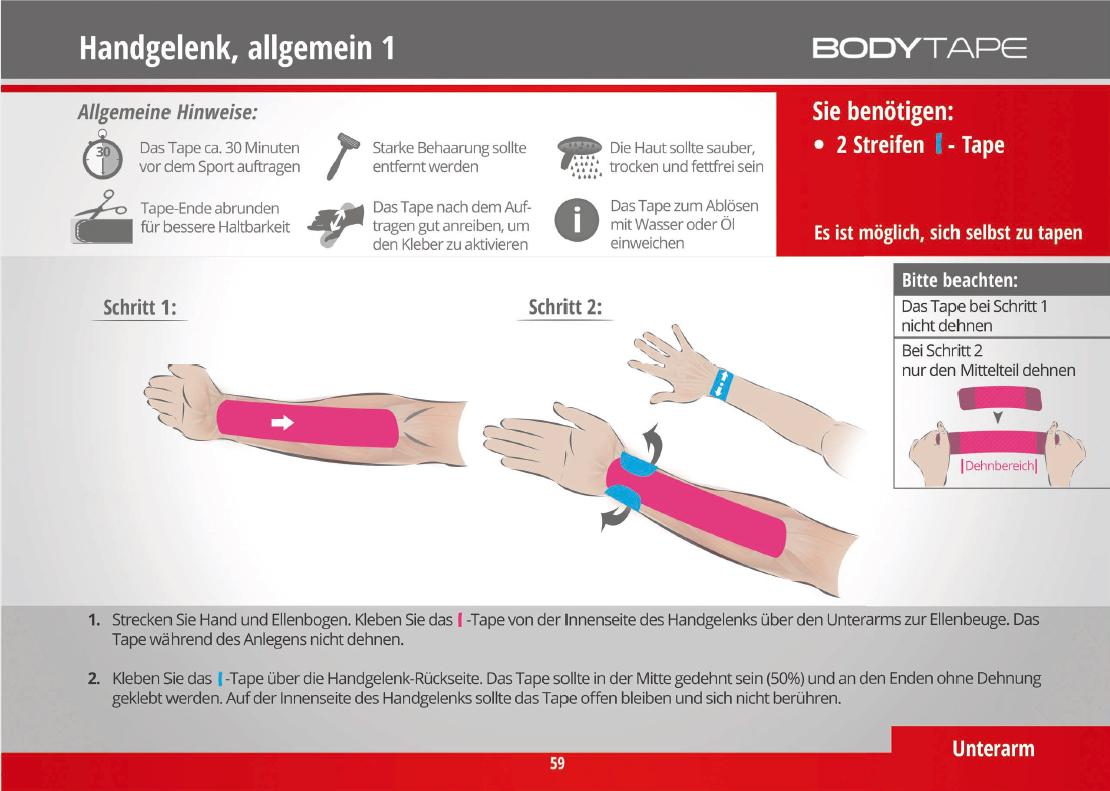 Handgelenk tapen mit Kinesiology tape
