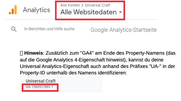 Google Analytics Konten Übersicht