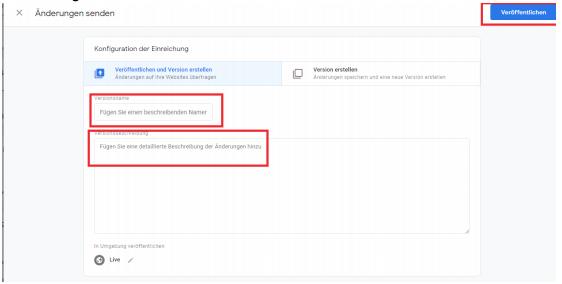 Google Tag Manager Änderungen senden