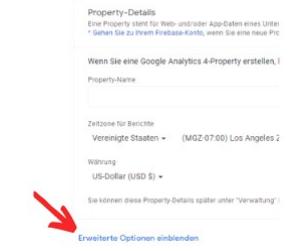 Google Analytics Optionen