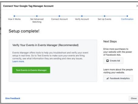 Facebook Pixel Google Tag Manager erfolgreich verbunden