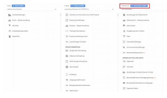 Google Analytics Konten ansicht