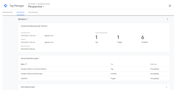 Google Tag Manager Versionen