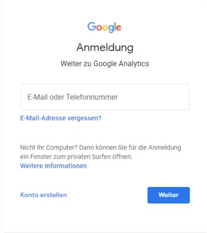 Google Analytics anmelden