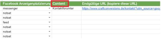 UTM Parameter Content