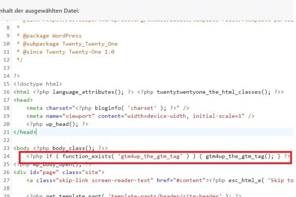 GTM Tag Wordpress code