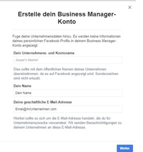 Facebook Business Manager erstellen