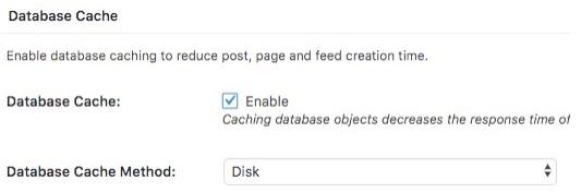 wordpress datenbank cache