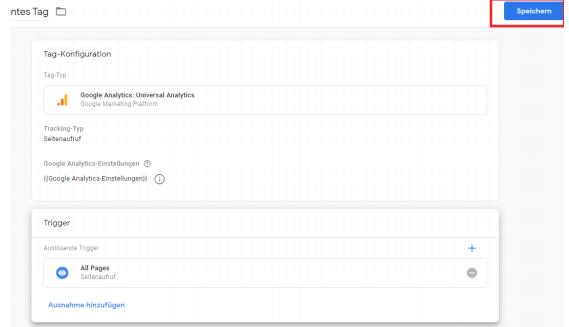 Google Tag Manager Tag speichern
