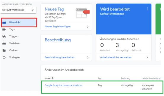 Google Tag Manager Tag im Konto