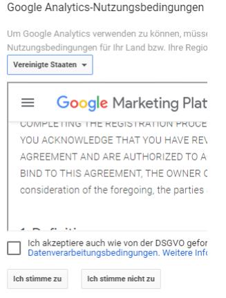 Google Analytics Nutzungsbestimmungen